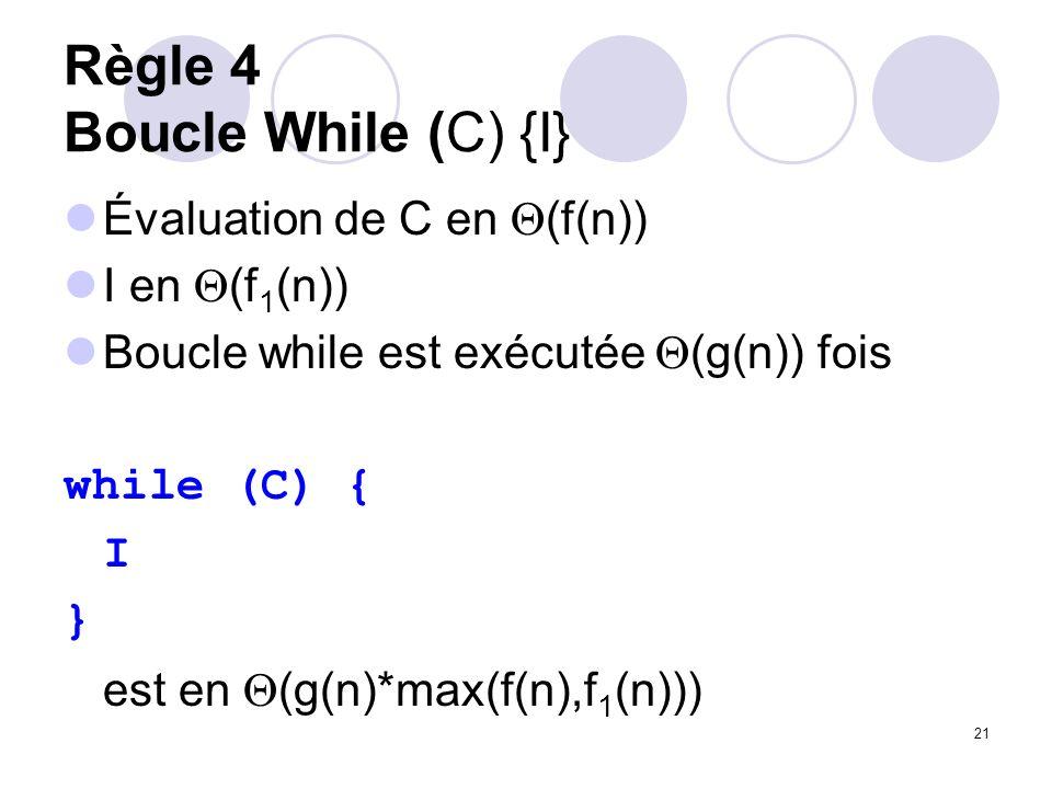 Règle 4 Boucle While (C) {I}