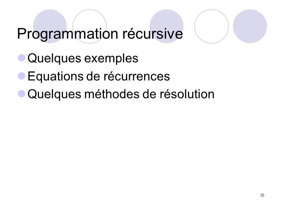 Programmation récursive
