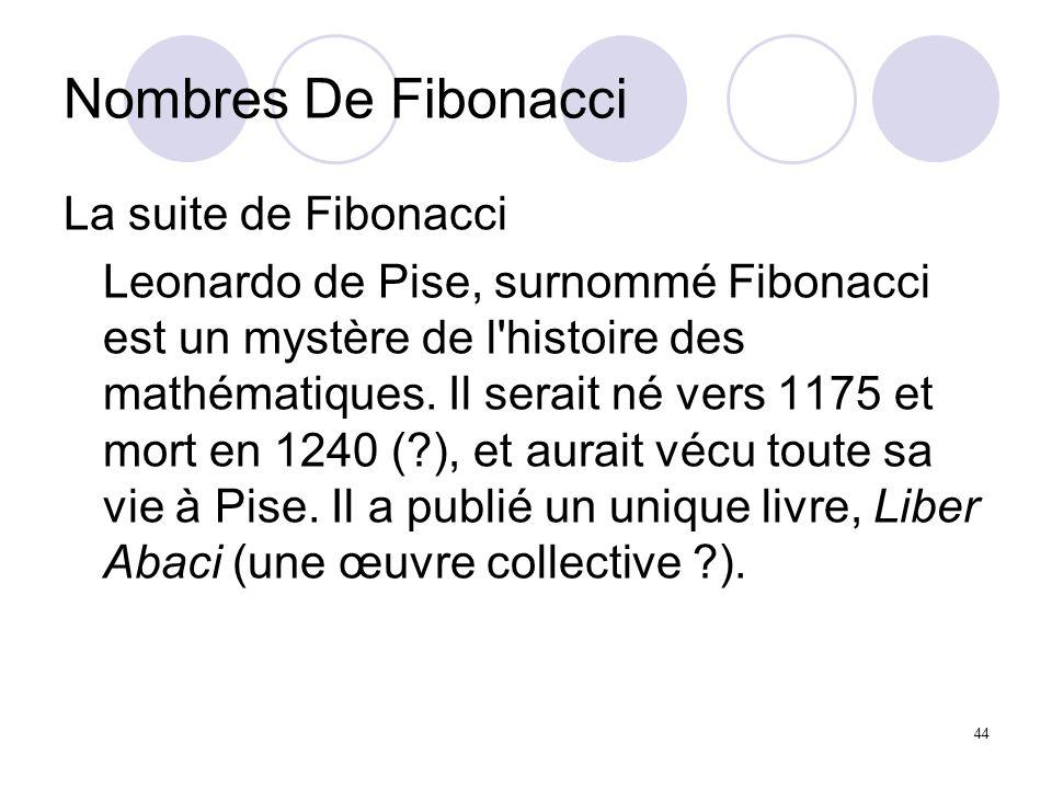 Nombres De Fibonacci La suite de Fibonacci