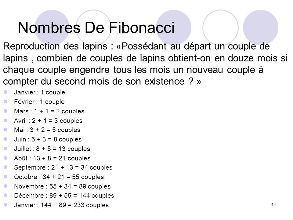 Nombres De FibonacciReproduction des lapins : «Possédant au départ un couple de. lapins , combien de couples de lapins obtient-on en douze mois si.