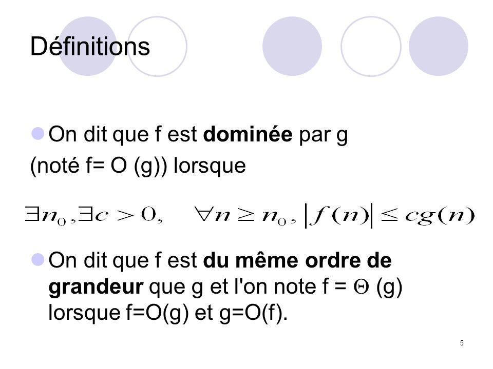 Définitions On dit que f est dominée par g (noté f= O (g)) lorsque