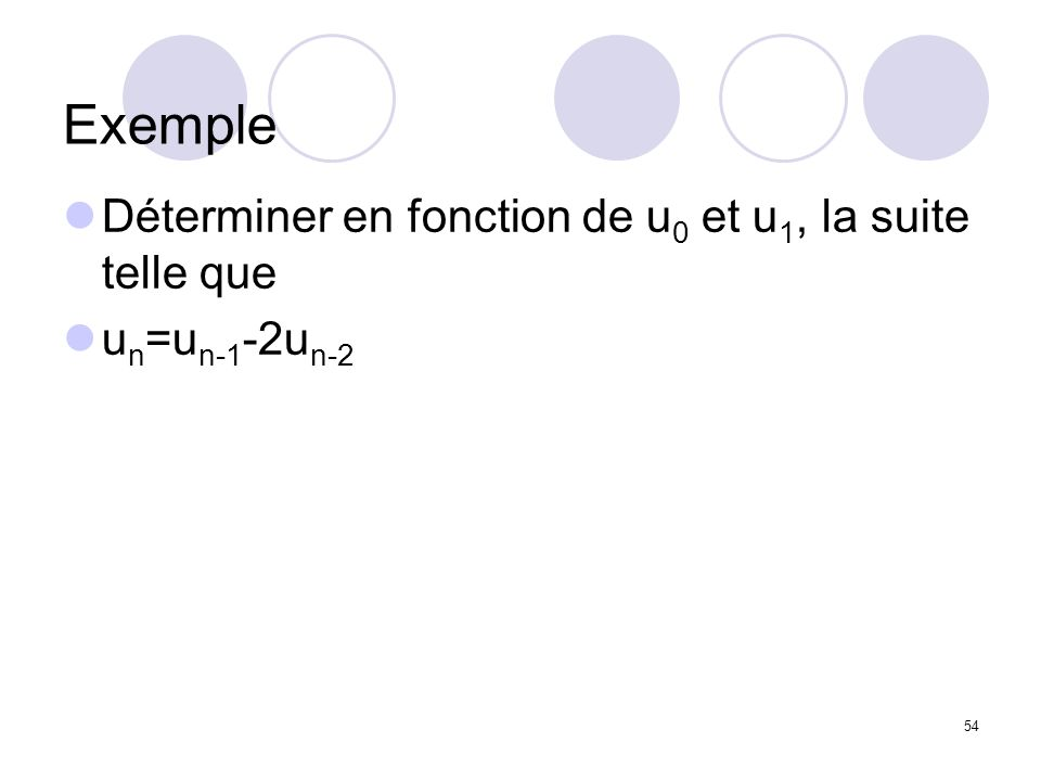 Exemple Déterminer en fonction de u0 et u1, la suite telle que