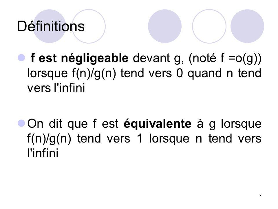 Définitions f est négligeable devant g, (noté f =o(g)) lorsque f(n)/g(n) tend vers 0 quand n tend vers l infini.