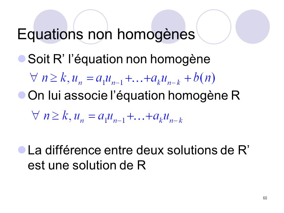Equations non homogènes