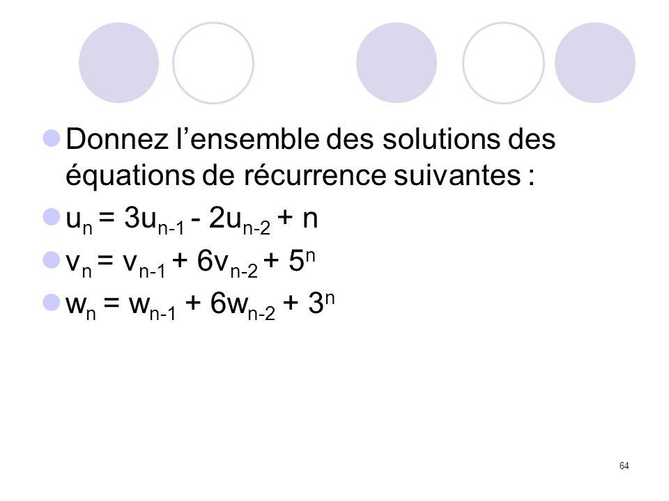 Donnez l'ensemble des solutions des équations de récurrence suivantes :
