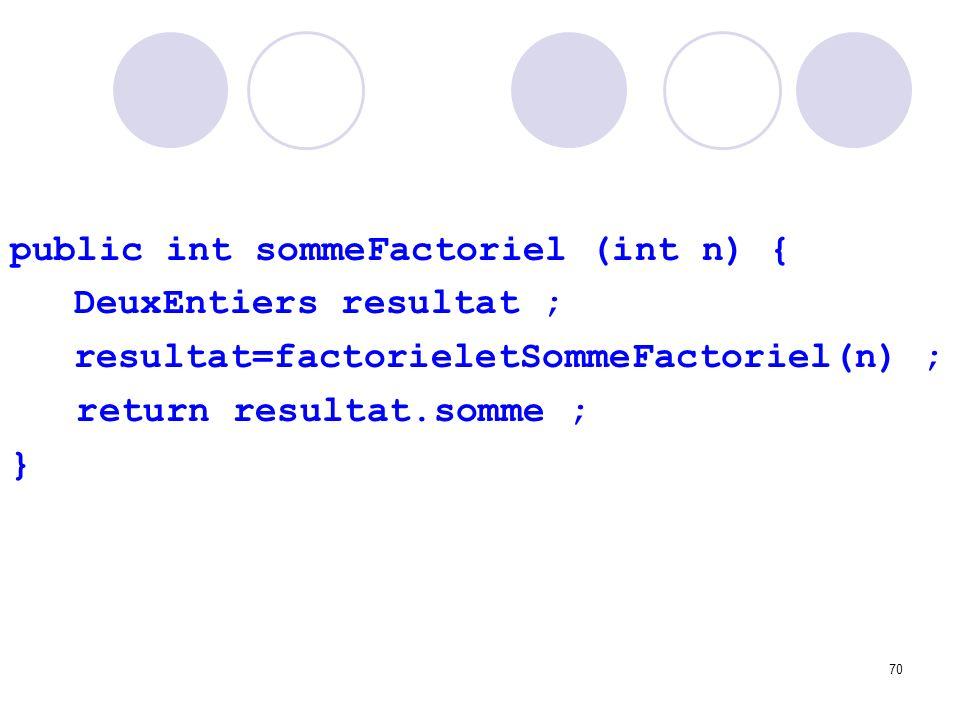 public int sommeFactoriel (int n) {