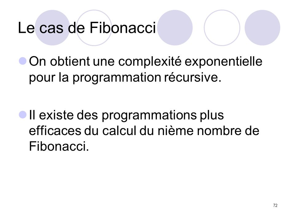 Le cas de Fibonacci On obtient une complexité exponentielle pour la programmation récursive.