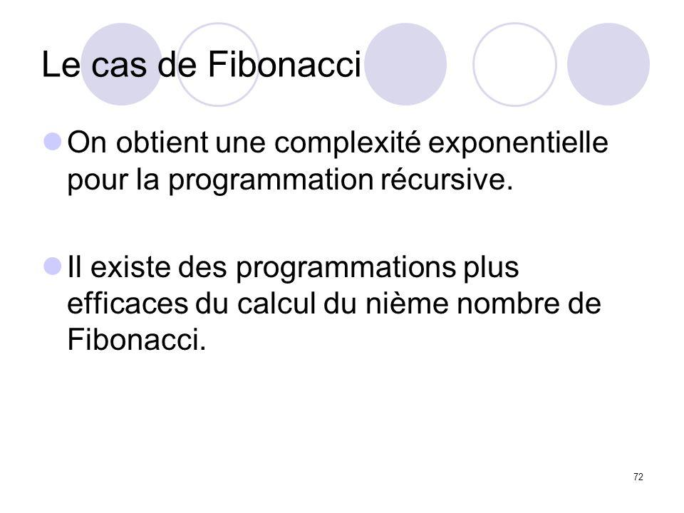 Le cas de FibonacciOn obtient une complexité exponentielle pour la programmation récursive.