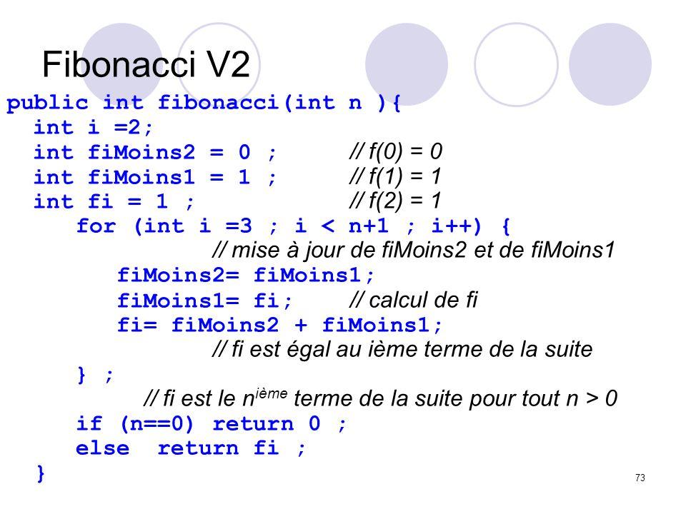 Fibonacci V2 public int fibonacci(int n ){ int i =2;