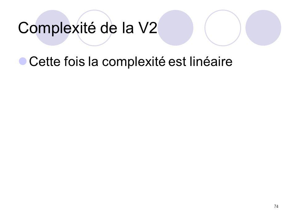 Complexité de la V2 Cette fois la complexité est linéaire