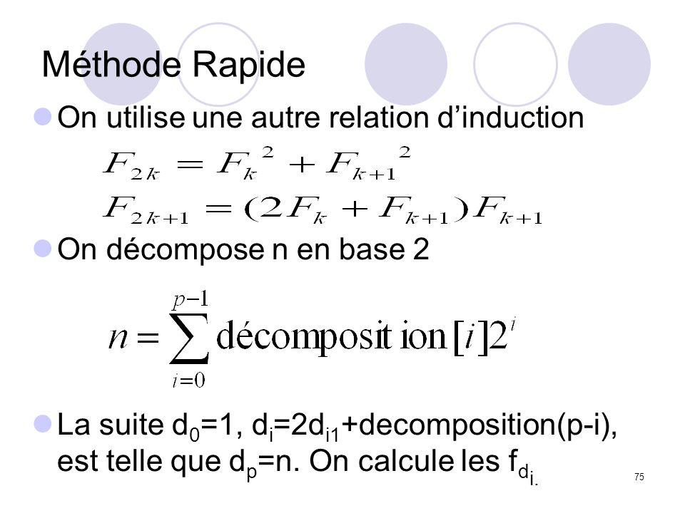 Méthode Rapide On utilise une autre relation d'induction