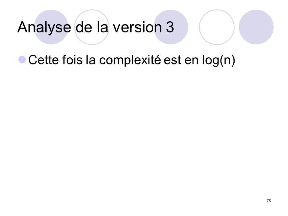 Analyse de la version 3 Cette fois la complexité est en log(n)