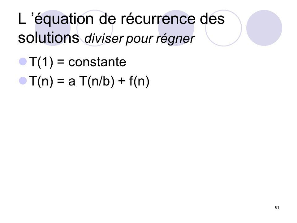 L 'équation de récurrence des solutions diviser pour régner