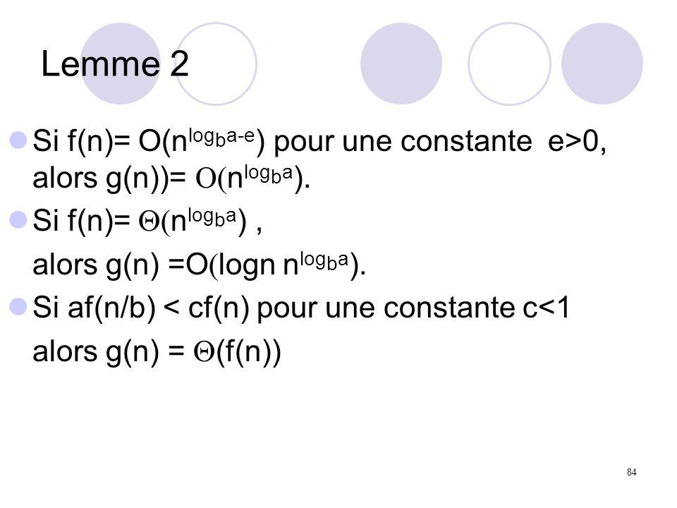 Lemme 2 Si f(n)= O(nlogba-e) pour une constante e>0, alors g(n))= O(nlogba). Si f(n)= Q(nlogba) ,
