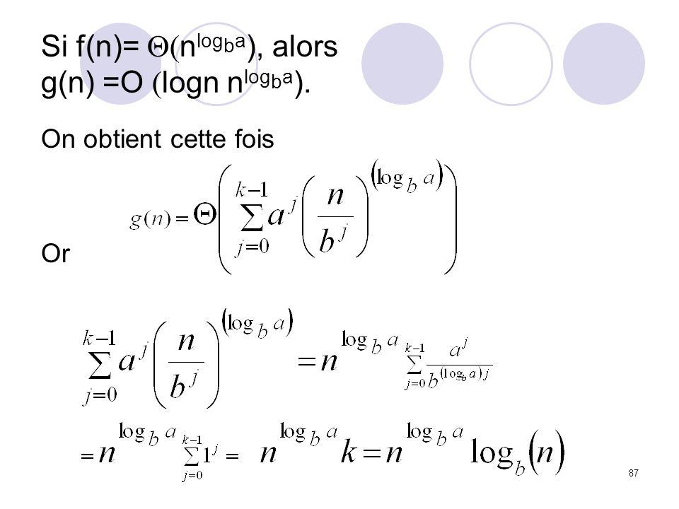 Si f(n)= Q(nlogba), alors g(n) =O (logn nlogba).