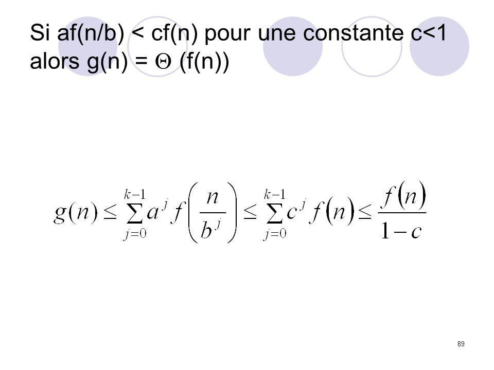 Si af(n/b) < cf(n) pour une constante c<1 alors g(n) = Q (f(n))