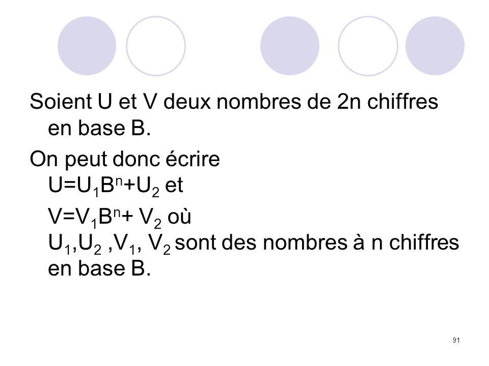 Soient U et V deux nombres de 2n chiffres en base B.