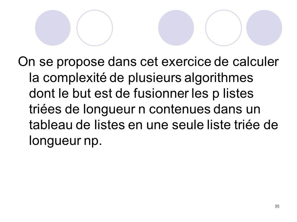 On se propose dans cet exercice de calculer la complexité de plusieurs algorithmes dont le but est de fusionner les p listes triées de longueur n contenues dans un tableau de listes en une seule liste triée de longueur np.