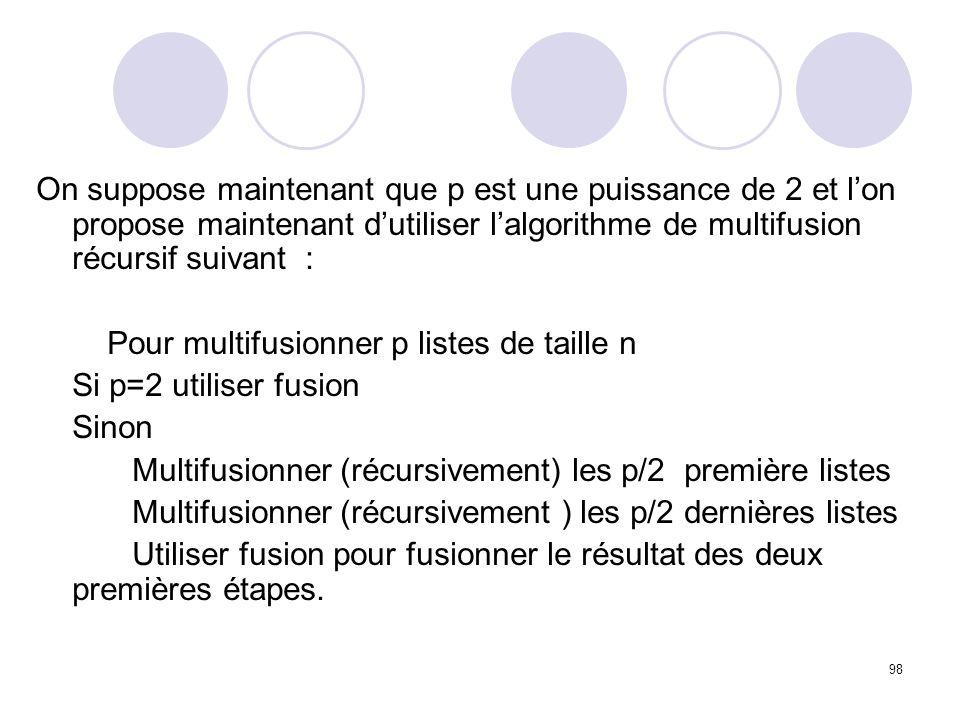 On suppose maintenant que p est une puissance de 2 et l'on propose maintenant d'utiliser l'algorithme de multifusion récursif suivant :
