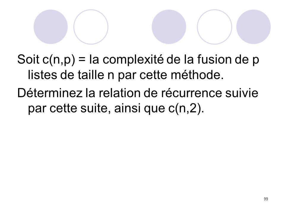 Soit c(n,p) = la complexité de la fusion de p listes de taille n par cette méthode.