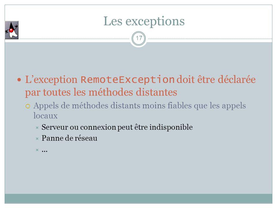 Les exceptions L'exception RemoteException doit être déclarée par toutes les méthodes distantes.