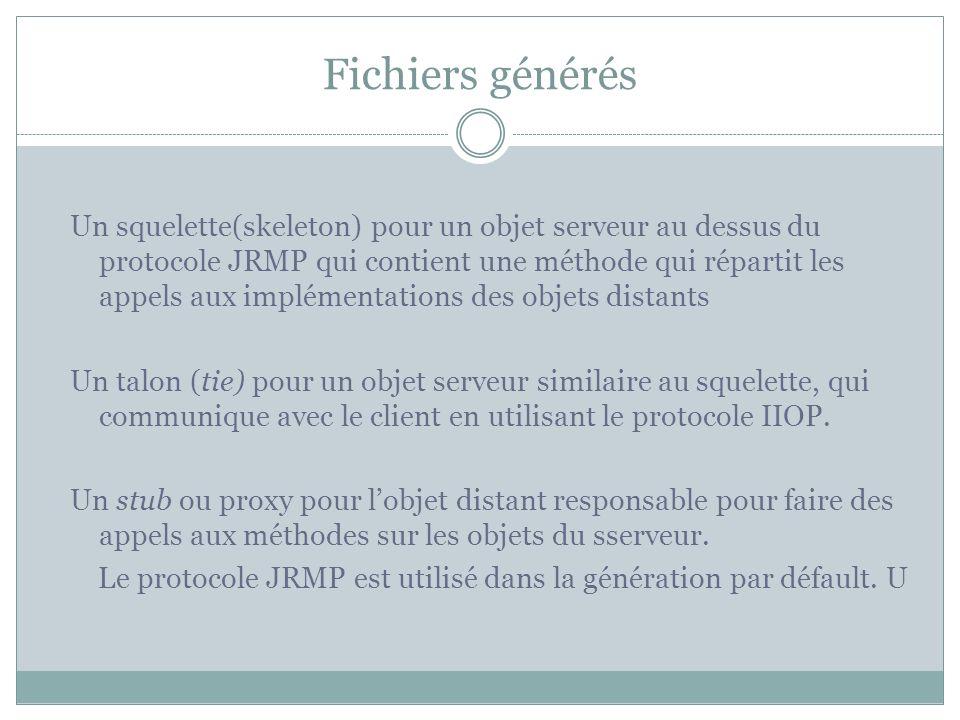 Fichiers générés