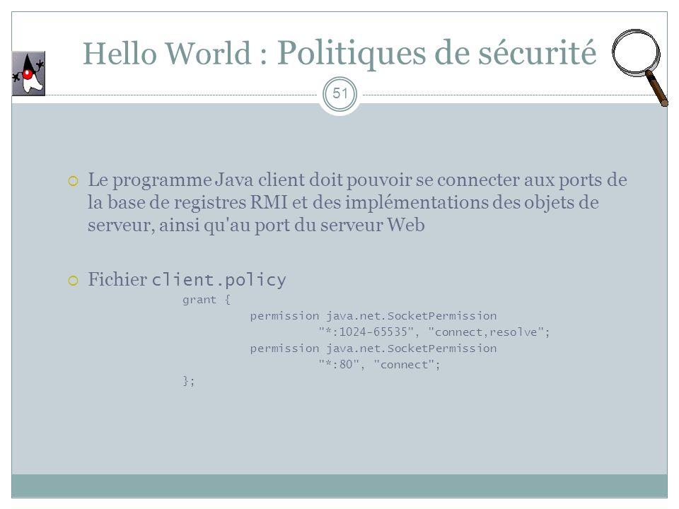Hello World : Politiques de sécurité
