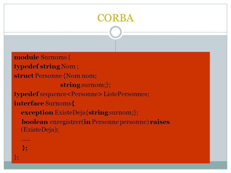 CORBA module Surnoms { typedef string Nom ; struct Personne {Nom nom;