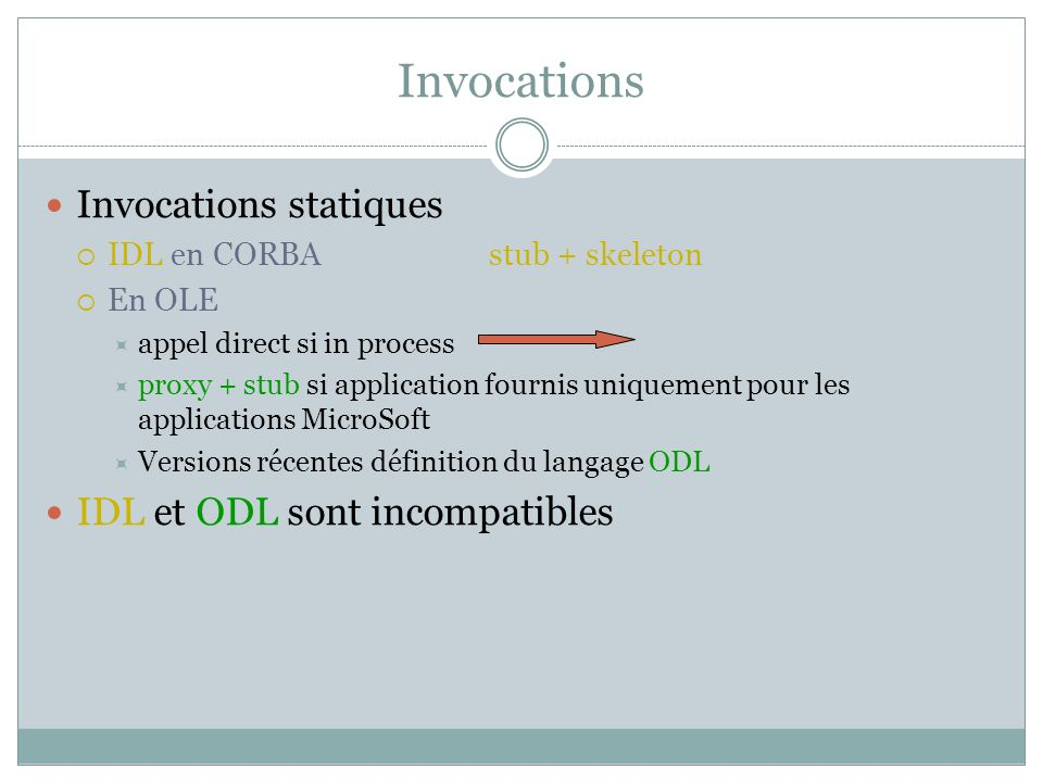 Invocations Invocations statiques IDL et ODL sont incompatibles