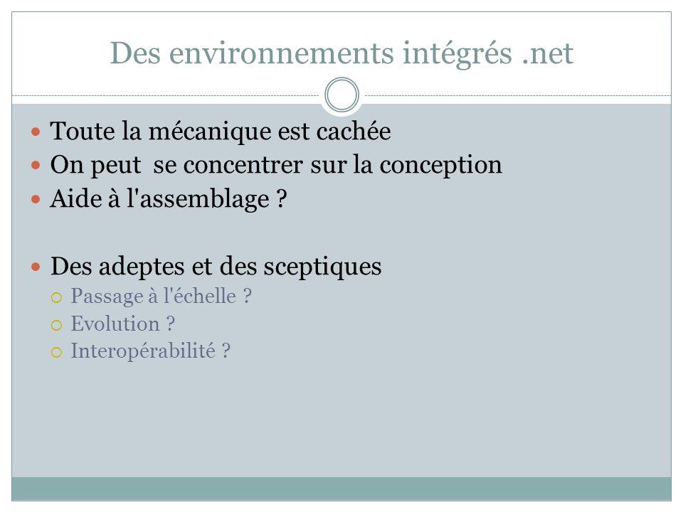 Des environnements intégrés .net