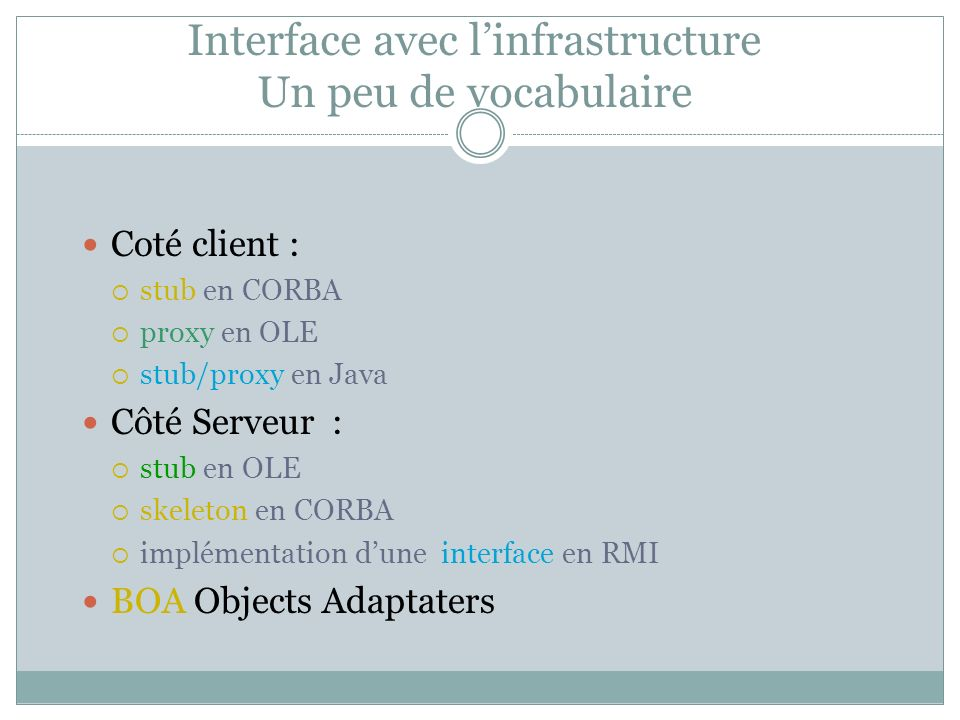 Interface avec l'infrastructure Un peu de vocabulaire
