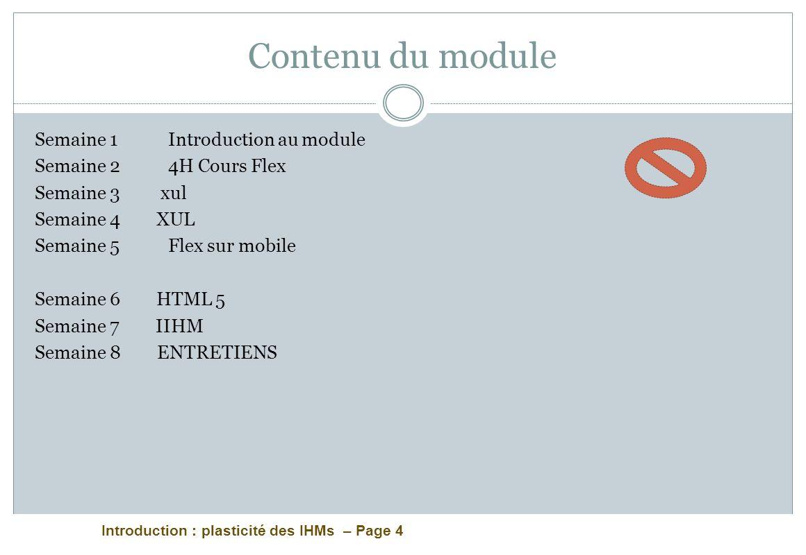 Contenu du module Semaine 1 Introduction au module