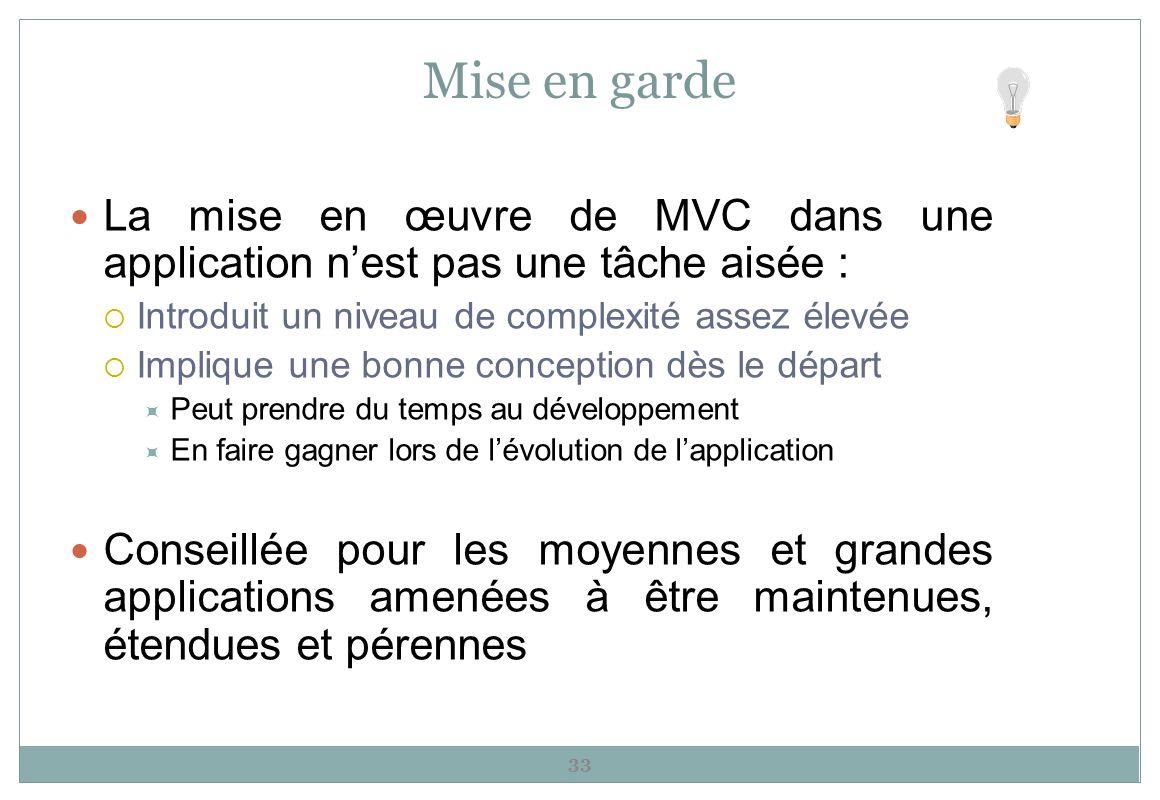Mise en garde La mise en œuvre de MVC dans une application n'est pas une tâche aisée : Introduit un niveau de complexité assez élevée.