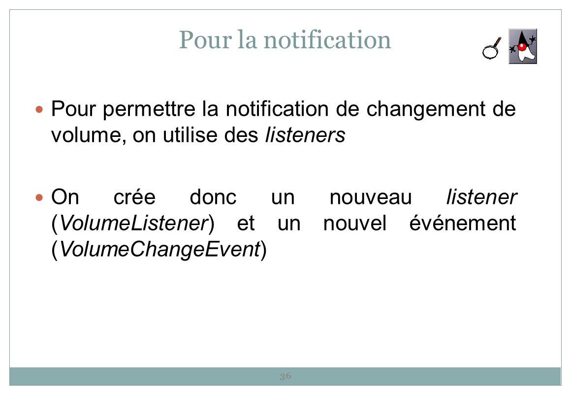 Pour la notificationPour permettre la notification de changement de volume, on utilise des listeners.