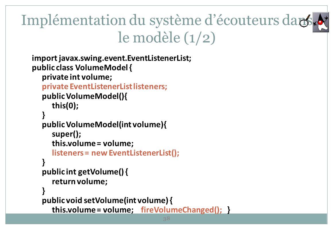 Implémentation du système d'écouteurs dans le modèle (1/2)