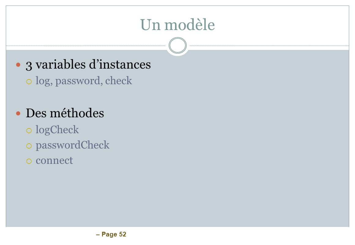 Un modèle 3 variables d'instances Des méthodes log, password, check