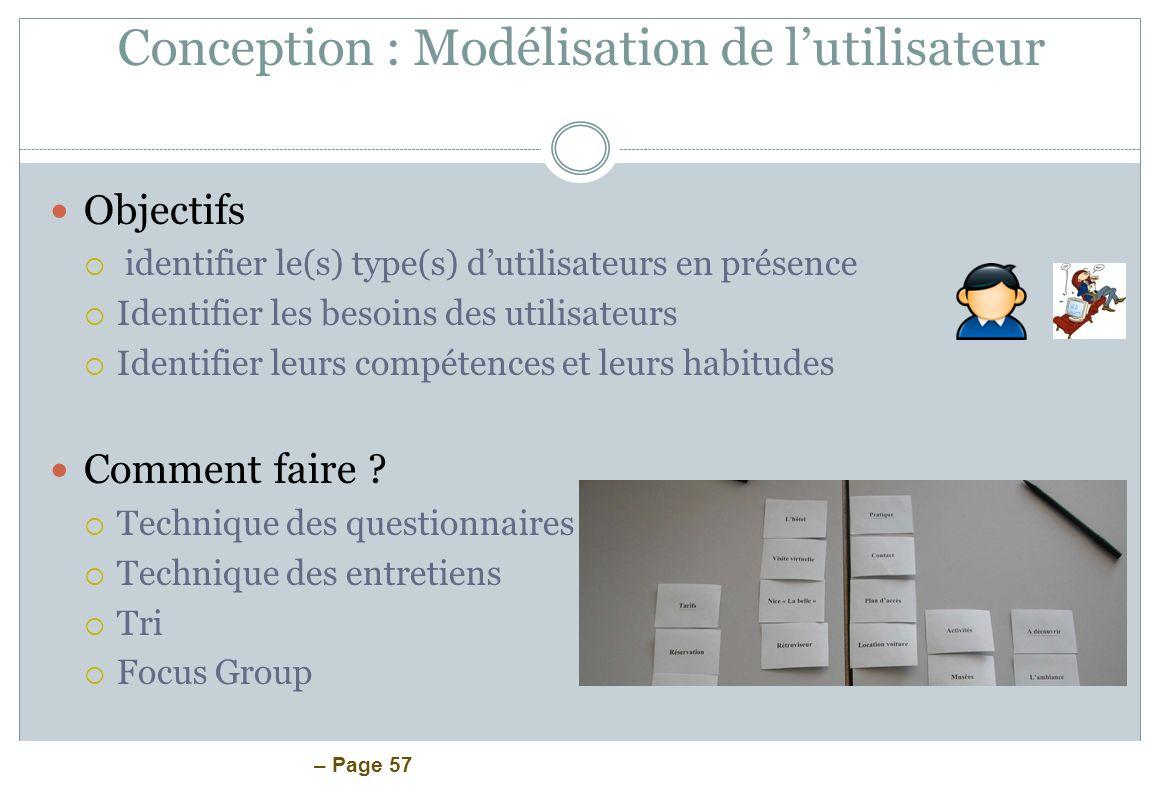 Conception : Modélisation de l'utilisateur