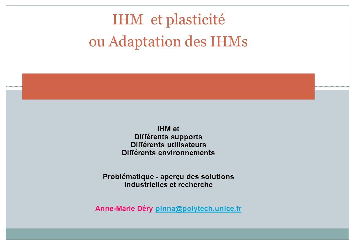 IHM et plasticité ou Adaptation des IHMs