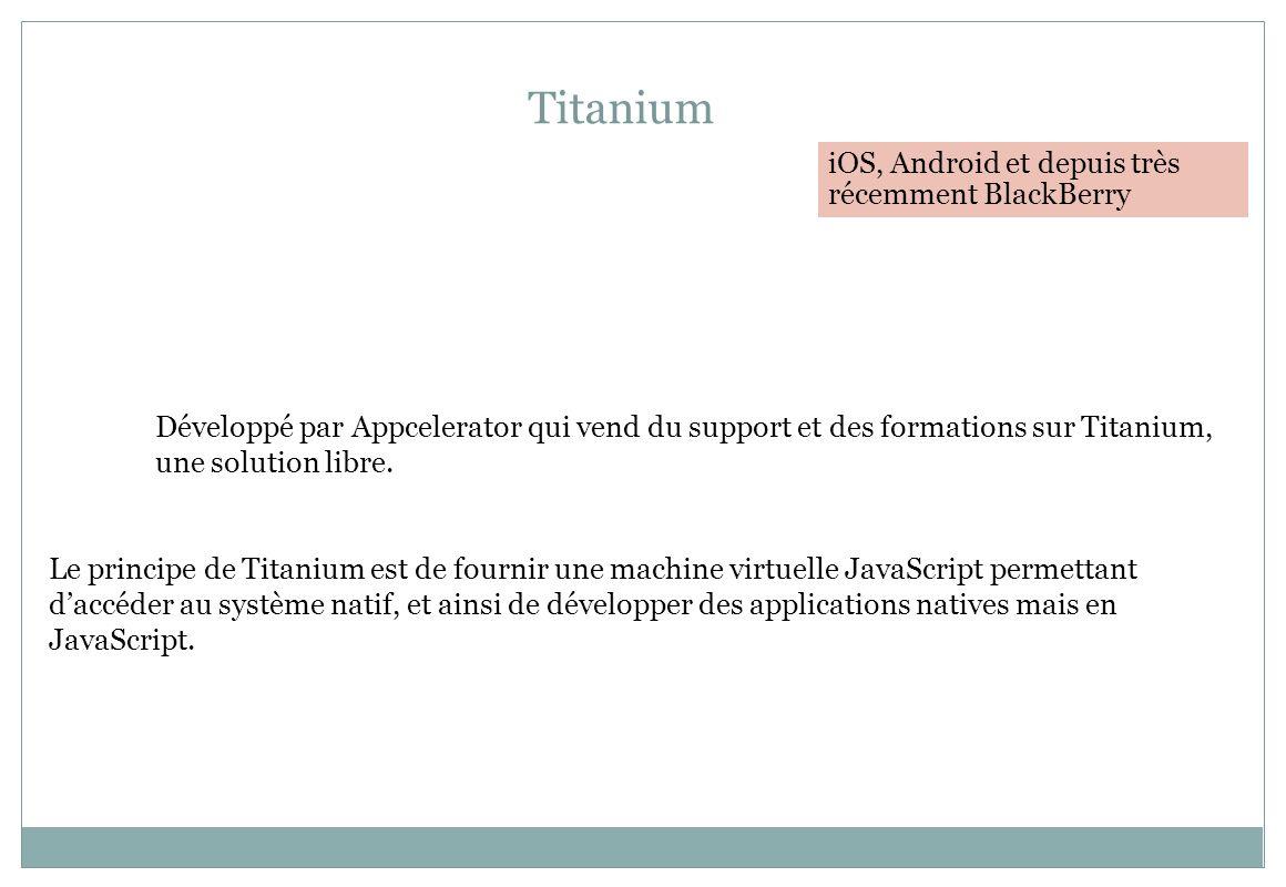 Titanium iOS, Android et depuis très récemment BlackBerry