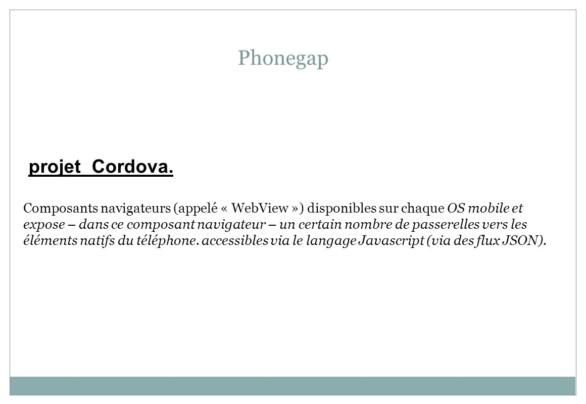 Phonegap projet Cordova.