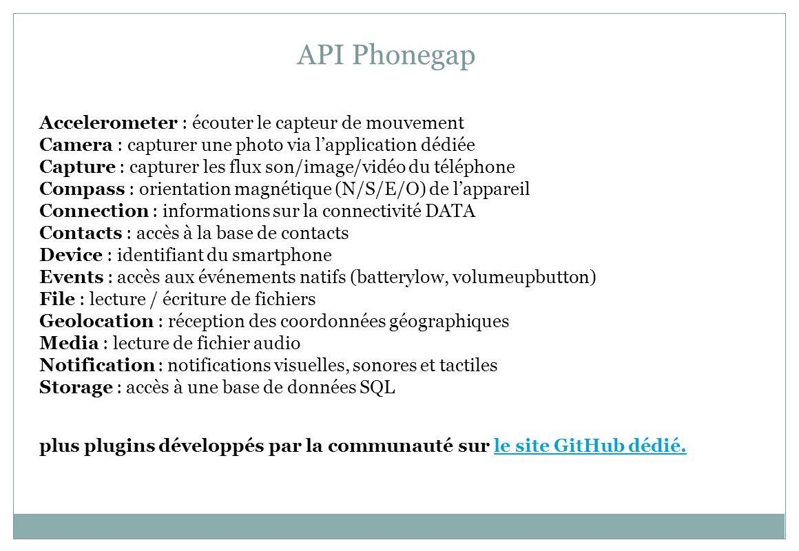API Phonegap Accelerometer : écouter le capteur de mouvement