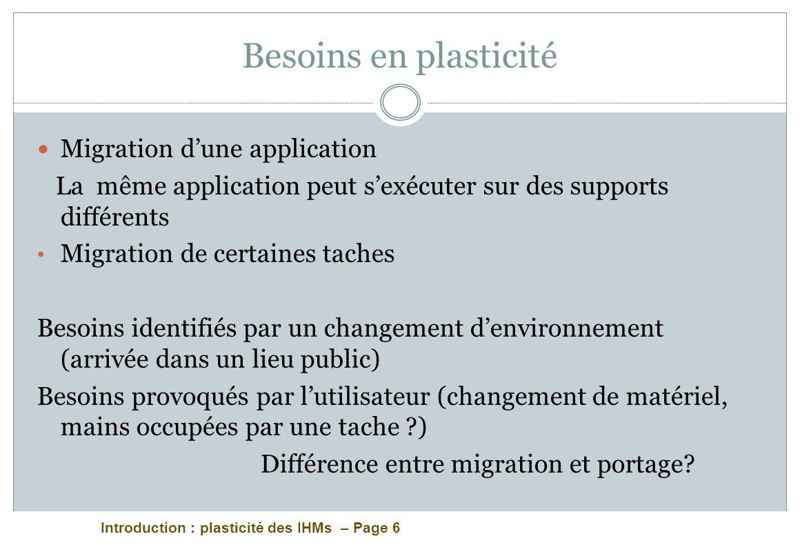 Besoins en plasticité Migration d'une application