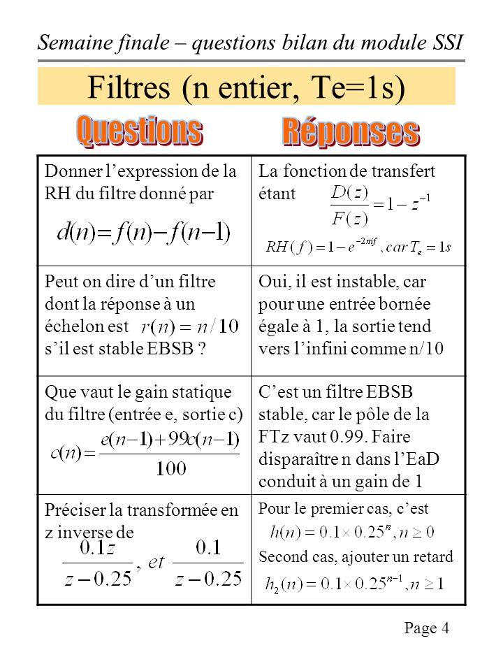 Filtres (n entier, Te=1s)