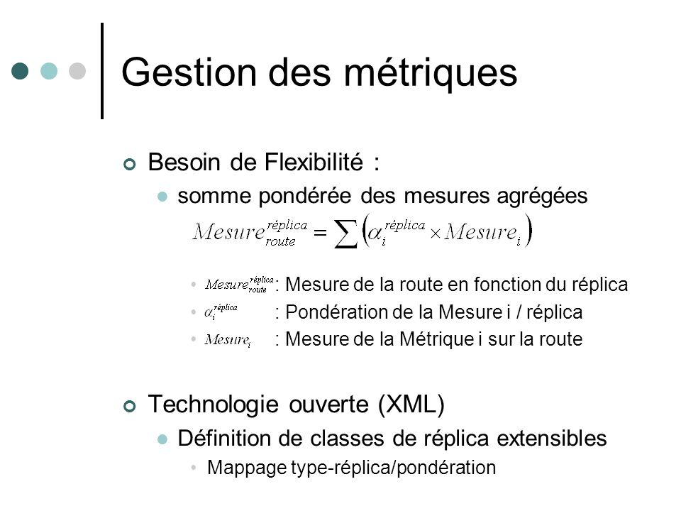 Gestion des métriques Besoin de Flexibilité :