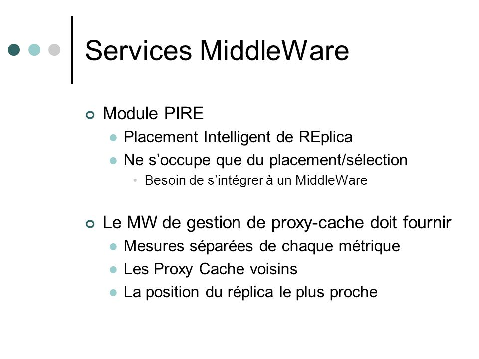 Services MiddleWare Module PIRE