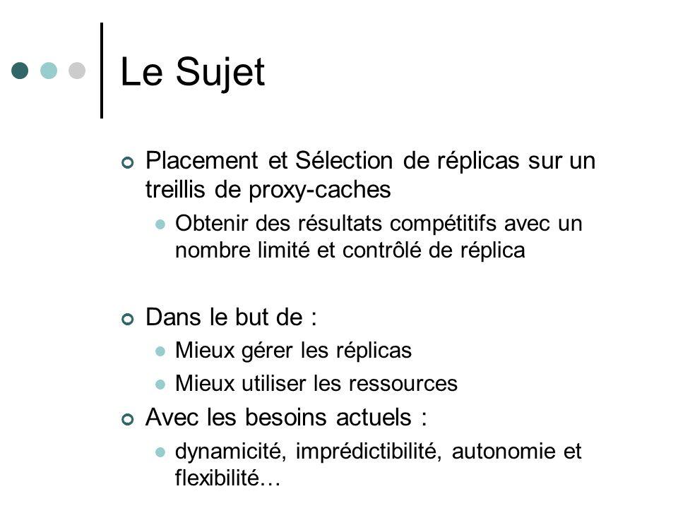 Le Sujet Placement et Sélection de réplicas sur un treillis de proxy-caches.