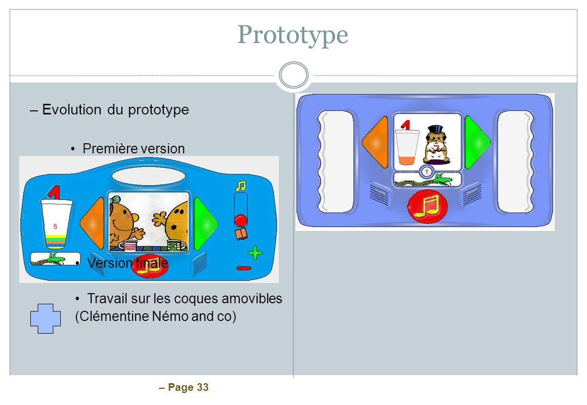 Prototype Evolution du prototype Première version Version finale