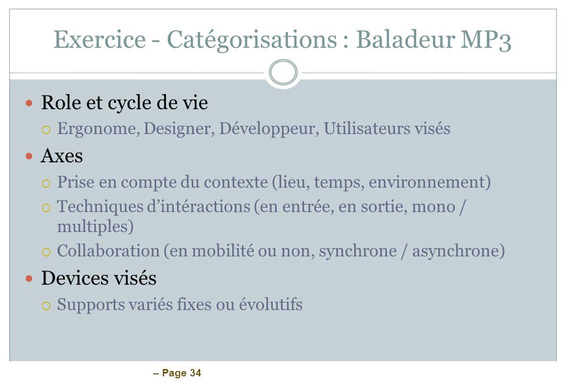 Exercice - Catégorisations : Baladeur MP3