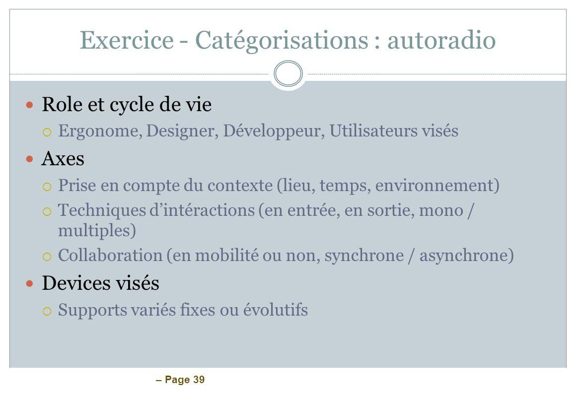Exercice - Catégorisations : autoradio