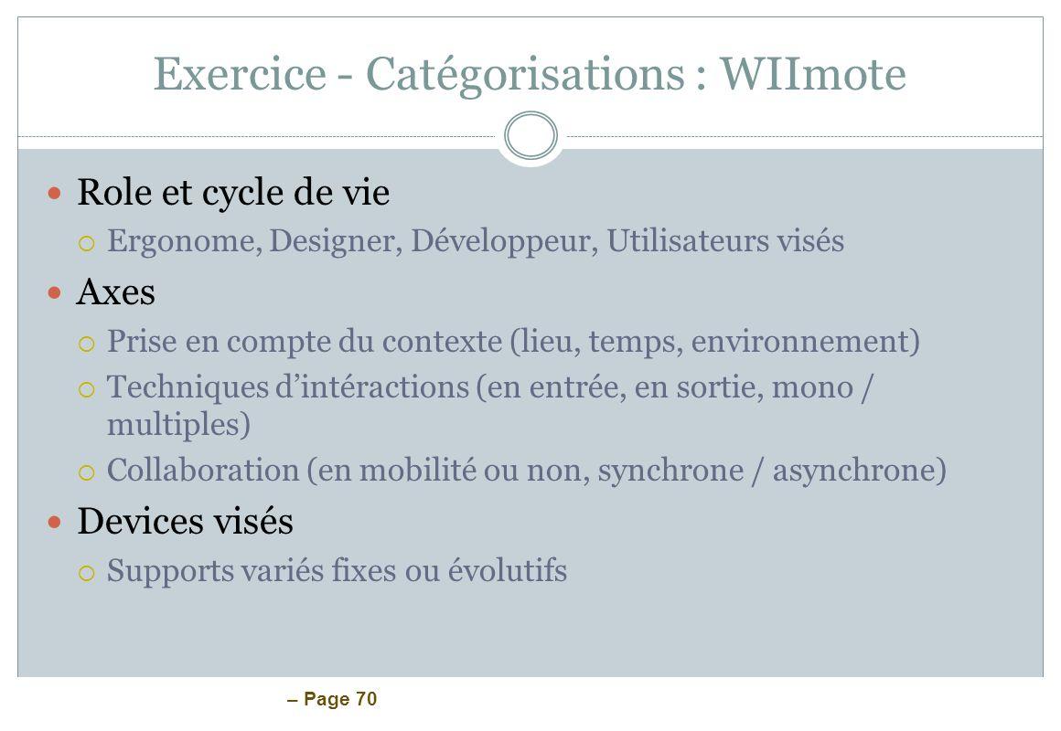 Exercice - Catégorisations : WIImote